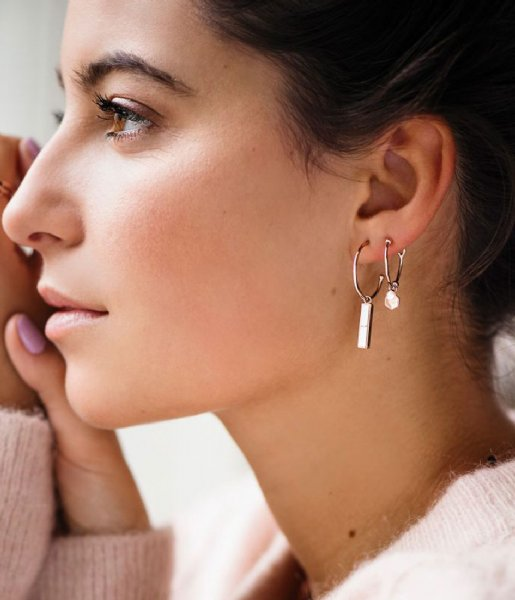 CLUSE Oorbellen Idylle Marble Bar Hoop Earrings rose gold plated (CLJ50001)